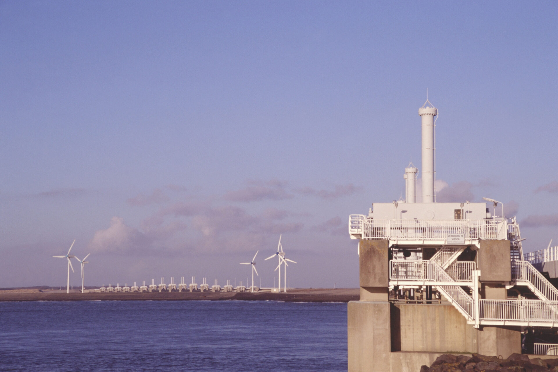 AKD9D0 Panoramic shot of part of the Oosterschelde storm barrier seen from the North Sea side Zeeland the Netherlands